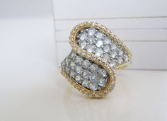 14K Yellow Gold Sterling Silver Genuine White Blue Topaz Cluster Ring Size 10 #Designer #Cluster