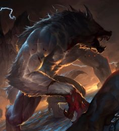 Mythological Creatures, Fantasy Creatures, Mythical Creatures, Werewolf Hunter, Werewolf Art, High Fantasy, Fantasy Art, Fantasy Beasts, Vampires And Werewolves