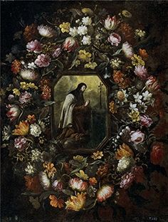 Oil Painting Perez Bartolome Guirnalda De Flores Con Santa Teresa De Jesus Ca 1676  Printing On Polyster Canvas  16 X 21 Inch  41 X 54 Cm the Best Gym Decoration And Home Artwork And Gifts Is This Vivid Art Decorative Prints On Canvas