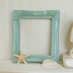 sea foam green aqua decorative frame beach cottage by summerroad