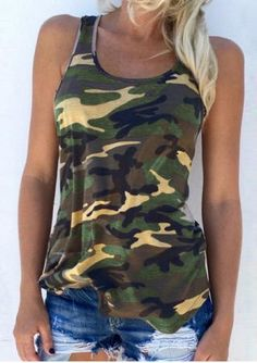 Camouflage Printed O-Neck Sleeveless Tank