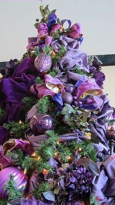 Inspiration Lane, Purple Christmas Tree (by Sugar Delights (Asya)). Love this purple tree! Purple Christmas Tree, Merry Christmas, Beautiful Christmas Trees, All Things Christmas, Winter Christmas, Christmas Tree Decorations, Christmas Holidays, Christmas Crafts, Christmas Tables