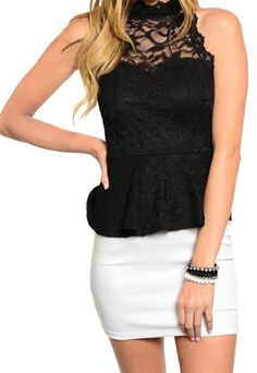 Fancy sleeveless two-tone short dress featuring a sheer lace fabric with peplum style waist. Stretch fit attached mini skirt in contrast color