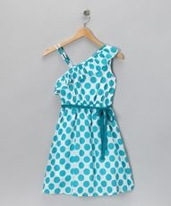 Zulily Blue and white polka dot Dress!