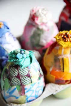 Scrappy Little Easter Eggs IMG_6044 by mealisab, via Flickr~T~ cute fabric decorated eggs