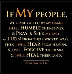 If my people who are called by My name shall humble themselves and pray and seek My face and turn from their wicked ways. Then I will hear from heaven and will forgive their sin and heal their land. 2 Chron. 7:14