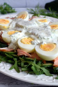 Polish Recipes, Polish Food, Tzatziki, Grilling, Food And Drink, Appetizers, Eggs, Salad, Healthy Recipes