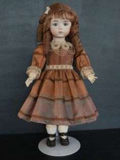 "Antique French Bisque ALBERT MARQUE Reproduction doll. 14"". Made in France"
