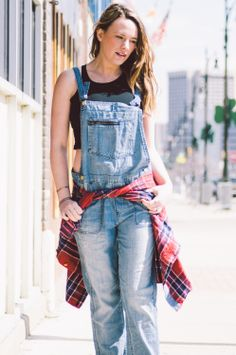 Madewell Overalls and Flannel, American Apparel Crop Top