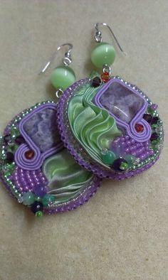Earrings with shibori silk ribbon