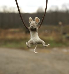 Tiny Mouse Necklace  needle felted by motleymutton on Etsy