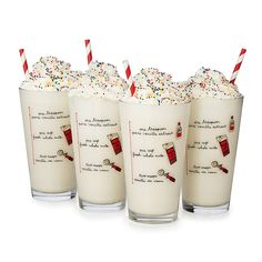 This milkshake glass features a graphic milkshake recipe right on the glass.