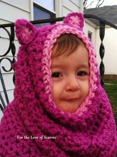 Crochet Hooded Kitty Cowl size 1 to 3 years