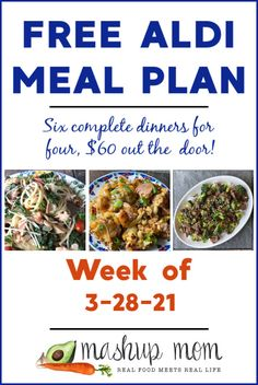 Free ALDI Meal Plan week of 3/28/21 - 4/3/21: Six complete dinners for four, $60 out the door! Let's cook up everything from a deliciously cheesy sausage & veggie casserole, to an easy pasta Florentine with salmon this week -- and so much more. Aldi Meal Plan, Meal Prep, Meal Planning Board, Real Food Recipes, Healthy Recipes, Veggie Casserole, Salmon Pasta, Dinners
