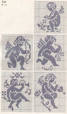 .cross stitch angels monochrome amore