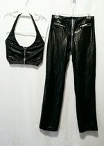 (S) 2pc black patent leather by Forplay (all working zippers)