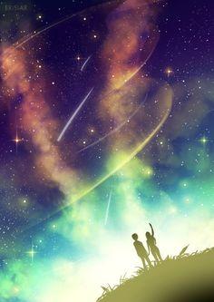 Sky Doodle by Erisiar - wallpes Fantasy Landscape, Fantasy Art, Theme Galaxy, Fantasy Background, Fantasy Places, Beautiful Sky, Anime Scenery, Anime Art Girl, Anime Couples