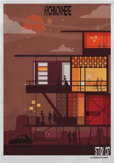 A Parallel Archi-Universe Illustrated by Federico Babina - ArchDaily Graphic Design Illustration, Illustration Essay, Mid Century Modern Art, Mid Century Art, Sketch Inspiration, Retro Design, Art Studies, Arte Digital, Architecture Design