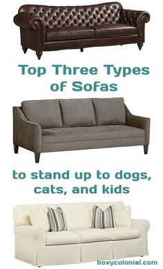 Top three sofa fabrics for homes that are tough on sofas: cats, dogs, kids.....