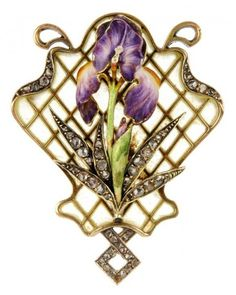 An Art Nouveau gold, rose-cut diamond and purple and white enamel iris brooch with plique-a-jour enamel latticework surmount.