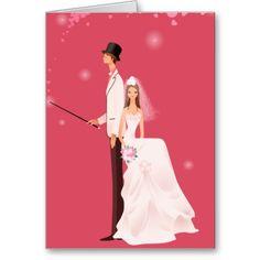 Pink, Groom and Bride Wedding Invitation