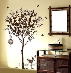 Vinyl wall decals tree wall decal birds birdcage wall by cuma, $79.00