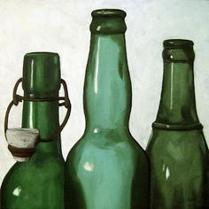 Green Bottles - realistic still life oil painting, painting by artist Linda Apple