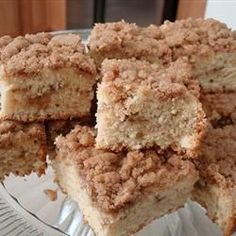 Aunt Anne's Coffee Cake...I just made this and it is DELICIOUS!  I baked it in a 9x9 pan instead of 9x13 and I doubled the topping using half brown and half white sugar