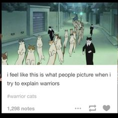 Ayyy this movie is called The Cat Returns! Warrior Cats is too. Warrior Cats Funny, Warrior Cats Comics, Warrior Cat Memes, Warrior Cats Series, Warrior Cats Fan Art, Warrior Cats Books, Warrior Cat Drawings, Cat Comics, Warrior Cats Movie