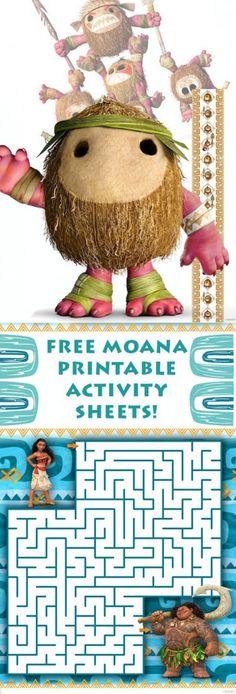 free moana printable activity sheets!
