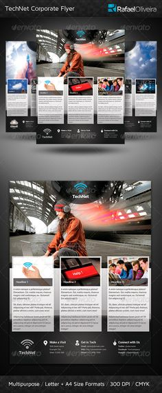 TechNet Corporate Flyer — Photoshop PSD #corporate #template • Available here → https://graphicriver.net/item/technet-corporate-flyer/3096758?ref=pxcr