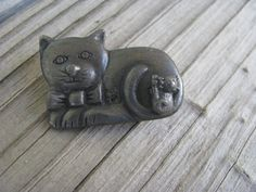 Kitten, Cat, Pewter, Brooch, Unique Jewelry, Awesome, Handmade Gifts, Vintage, Etsy