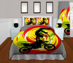 Motocross Comforter Set, Dirt Bike Comforter, Gray Yellow, Red, Green Bedding, Boys Sports Comforter, King, Queen/Full, Twin #202 by EloquentInnovations on Etsy
