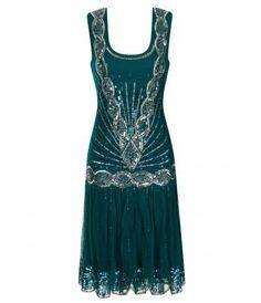 Zelda Flapper Dress Emerald - Frock and Frill Vestidos Vintage, Vintage Gowns, Vintage Inspired Dresses, Vintage Outfits, 20s Dresses, Pretty Dresses, Evening Dresses, Flapper Dresses, Emerald Dresses