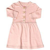 Merino Button Front Baby Girl's Dress in Coral | Nurtured By Nature