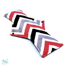 Cloth Menstrual Pad, Mama Cloth, Minky, Sanitary, Reusable, Maternity, WindPro Polartec Fleece, Postpartum Night Pad Zig Zag Black Red Grey