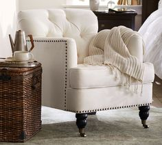 Hand crafted with care and designed to accent any room in your home, Pottery Barn armchairs are made to last for many years and memories to come.