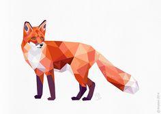 Red Fox 2 Geometric print Original illustration by tinykiwiprints Geometric Fox, Geometric Wall Art, Art Mural Rouge, Art Fox, Fuchs Illustration, Fuchs Tattoo, Red Wall Art, Creation Art, Fox Tattoo
