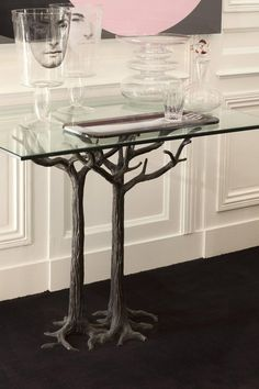 Beautiful Bronze Console by Jean Boggio Representing Tree Trunk 2 Console Table, Dining Table, Tree Trunks, End Tables, Entryway Tables, Bronze, Glass, House, Furniture