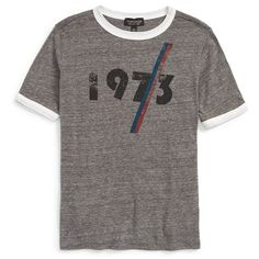 Topshop '1973' Ringer Tee (€27) ❤ liked on Polyvore featuring tops, t-shirts, shirts, blusa, grey multi, retro tees, retro graphic tees, graphic t shirts, vintage tees and vintage graphic t-shirts
