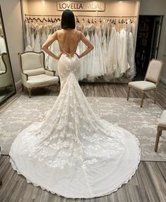 We are so in-love with this BERTA Privee that was featured in our January 2020 trunk show. Lace, sparkle, and a low back, what more could a bride ask for?!