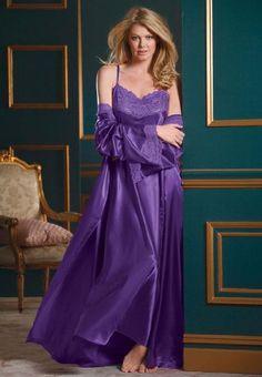 Industries Needs — Amoureuse Women's Plus Size Long Satin Peignoir. Pyjama Satin, Satin Nightie, Silk Chemise, Satin Sleepwear, Satin Gown, Sleepwear Women, Satin Dresses, Nightwear, Lace Gowns