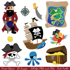Pirate Clipart Clip Art - Commercial and Personal Use. $6.00, via Etsy.