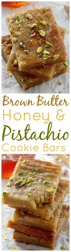 Brown Butter and Honey Pistachio Cookie Bars Thick and chewy Brown Butter Honey Pistachio Bars are perfect for holiday gifting! Honey Recipes, Sweet Recipes, Cookie Recipes, Dessert Recipes, Pistachio Cookies, Pistachio Recipes, Yummy Cookies, Baking Cookies, Bar Cookies