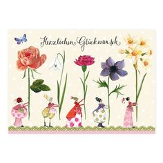 """Postkarte """"Blumenfrauen"""", 1,05 € Oldies But Goodies, Cute Illustration, Writing A Book, Watercolor Art, Happy Birthday, Place Card Holders, Tapestry, Long Live, Latte"""