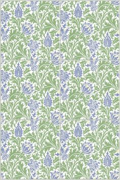 Morris and Co. First registered in a year after Morris's death, Thistle shows strong Morris lines, but more stylized than earlier Morris patterns, suggesting the same early Art Nouveau style we see in William De Morgan's work of this period. Curtain Patterns, Wall Patterns, Quilt Patterns, Embroidery Fabric, Embroidery Patterns, Grey Fabric, Linen Fabric, William Morris Patterns, Art Nouveau Pattern