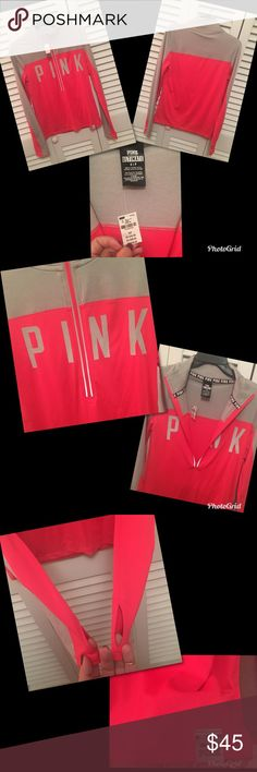 VS PINK ULTIMATE DEEP ZIP PULLOVER - Sm NWT - 100% authentic - Size Small. Retails for $50 plus tax and s&h.   This VS Pink Grey/Neon Red (?hot pink?) Reflective Ultimate Deep Zip Pullover has a slim fit. It is made of premium stretch fabric that smooths and flatters. Plus it features the PINK Logo across the front and thumbholes.   PLZ NOTE: OFFERS ARE WELCOME! BUT PLEASE DO NOT LOWBALL ME! NO TRADES!   QUESTIONS ARE WELCOMED, BUT RUDENESS IS NOT, THX!  ❣TREAT OTHERS AS YOU WOULD LIKE TO BE…