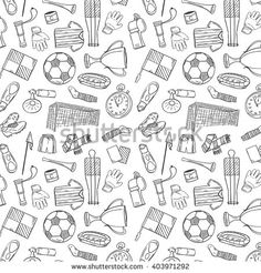 Sports Pattern With Soccer/Football Symbols in Hand Draw Style. Soccer Birthday, Football Boys, Sports Wallpapers, Doodle Art, How To Draw Hands, Doodles, Artsy, Bullet Journal, Symbols