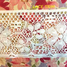 2 YARDS, White Lace Insertion Sewing Trim, Machine Crochet, Straight Edges, Flowers Stems Daisies, 4 Inch Wide, L272 by DartingDogCrafts on Etsy