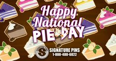 Today is National Pie Day! This annual celebration of pies started in the mid-1970s and is celebrated every January 23rd. Treat yourself today with a slice of your favorite kind. Send a comment and tell us your favorite! #SignaturePins #NationalPieDay #YummyPie #WhatIsYourFavoriteKindOfPie #PieLovers